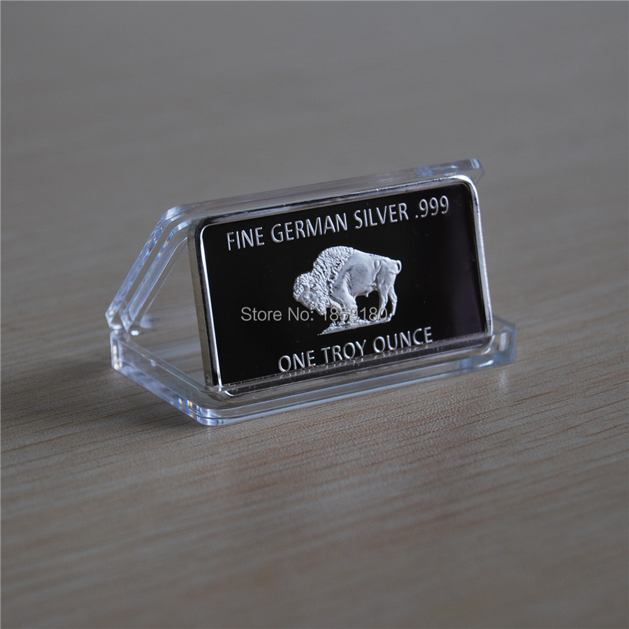 Free Shipping 50pcs lot 1 TROY OZ GERMAN SILVER BULLION BUFFALO BAR COLLECTABLE FINE 999 INGOT