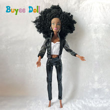 где купить 1Set Black Doll with Head Hair Cloth 1/6 BJD Doll 11 Joint Black Nude Body 29cm 1/6 Doll for Girl Gift Doll Accessories по лучшей цене