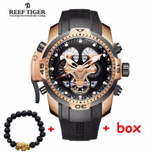 Reef Tiger brand fashion watches Men's Sport waterproof Calendar Steel Complicated Blue Automatic Dial Watch relogio masculino