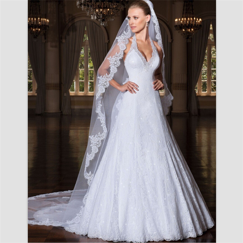 Bride Gowns 2015: 2015 White Lace Wedding Gowns Sweep Train Halter A Line
