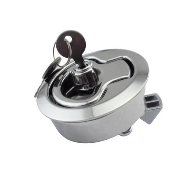 Stainless Steel Flush Mount Hatch Flush Pull Latch Marine Lock with Key Lift Slam Latch Hardware for RV Yacht Boat Deck Hatch