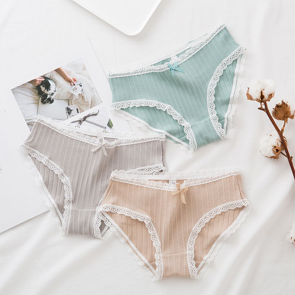 Fashion Cotton Women Shorts Panties Light Color Cute Lace Intimates Bowknot Screw Thread Seamless Ultra-thin Shorts
