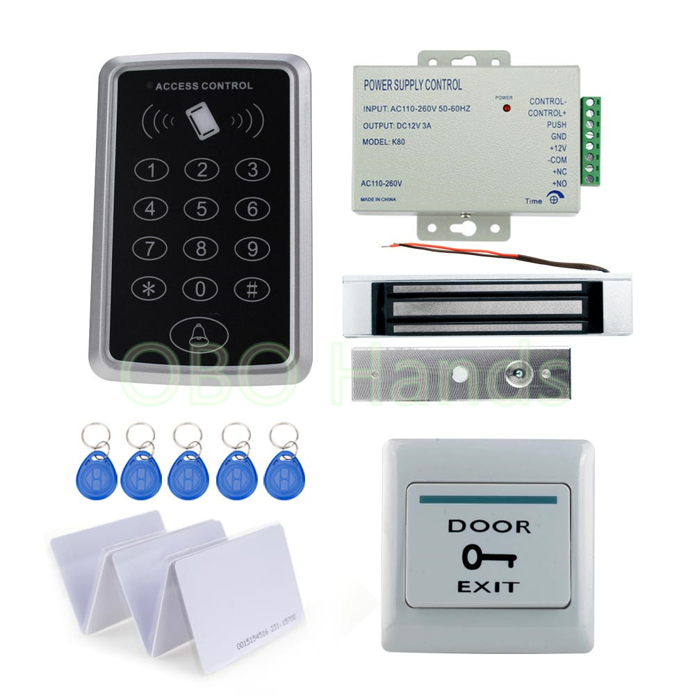 OBO HANDS DIY 125KHz Rfid Access Control System Full Kit Set + Electronic Door Lock + Power Supply + Exit Button diysecur magnetic lock door lock 125khz rfid password keypad access control system security kit for home office