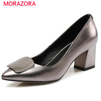 MORAZORA Women Pumps Shoes Single Party Work High Heels Shoes Big Size 33 45 Genuine Leather