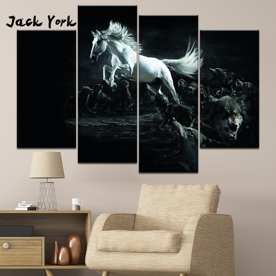 Canvas Painting White running Horse Among Wolves 4 Pieces Wall Art Painting Modular Wallpapers Poster Print Home Decor Обои