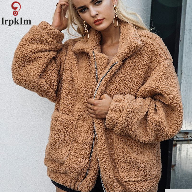 Womens Artificial Fur Coat Sheep Wool Jacket Winter Short Coat For Female 2018 Plus Size Loose Woollen Jackets S 3XL LZ887