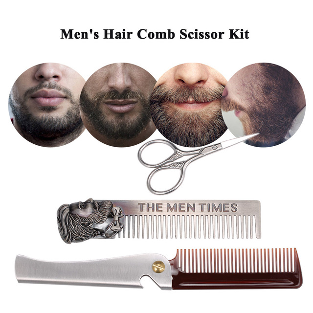 Stainless Steel Hair Comb Scissor Kit Foldable Hair Moustache Beard Comb Facial Hair Trimmer Set for Home Travel Supply 1