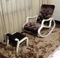 Telas de Tapicería Chaise Lounge con Reposapiés Conjunto Blanco Acabado De Madera Muebles de La Sala Moderna Mecedora Tumbona Perezoso