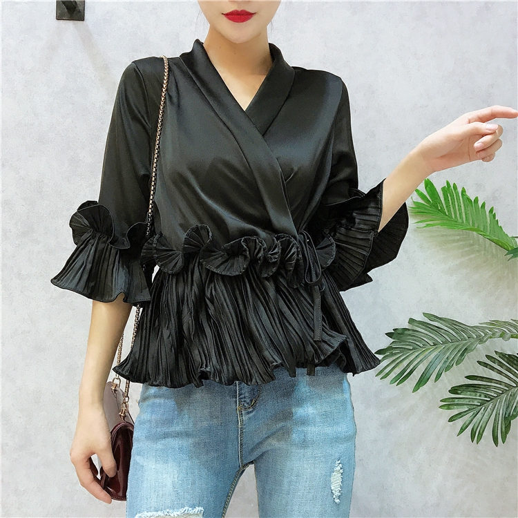 V-neck Pleated Ruffled Lace Chiffon Shirt