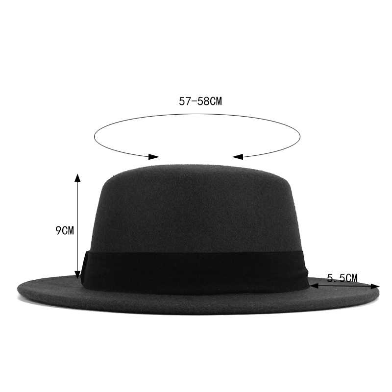 9c2084698e3 ... Girl Flat Top Hats Solid Black Red Casual Vintage Wide Brim Fedora Felt Bowler  Fedora Hat ...