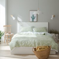 Fresh Light Green Bedding Sets White Little Flowers Pillowcases Duvet Cover Tencel Bamboo Fiber Bedding Set