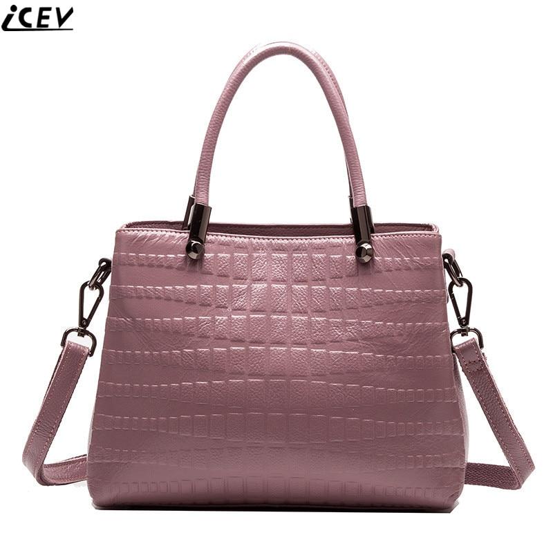 ICEV casual genuine leather handbag designer high quality alligator tote bags handbags women famous brands cowhide messenger bag