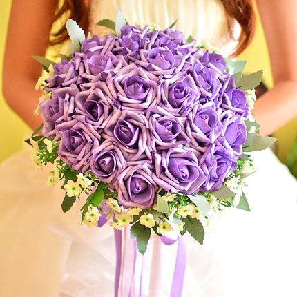 red blue purple 2017 hot romantic wedding bouquet rose in color bridesmaid flower bridal bouquet bride holding rose bouquet in wedding bouquets from