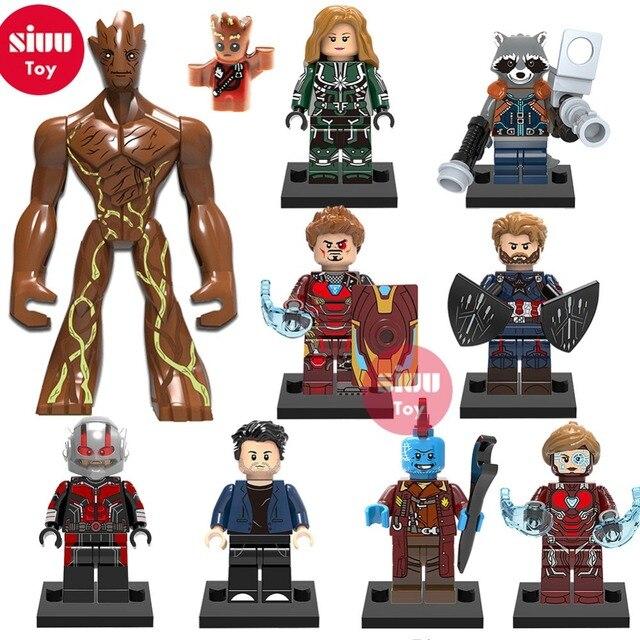 Groot Super Heróis lEGOED Thanos Maravilhas Vingadores Homem de Ferro Hulk Thor Capitão América Homem-Formiga Pantera Negra Building Blocks brinquedo