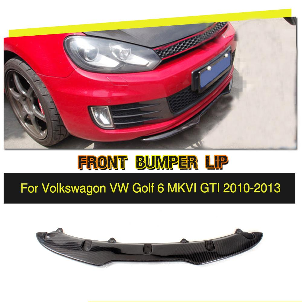 цена Carbon Fiber / FRP Racing Front Lip Spoiler Bumper Chin Splitters for Volkswagen VW Golf 6 VI MK6 GTI Only 2010 - 2013