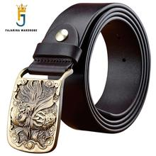 FAJARINA Quality Cowhide Genuine Leather Demon Exorcise Evil Spirits Pattern Brass Slide Buckle Belts for Men Jeans N17FJ37