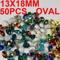 50 pcs 13x18mm Pedras Preciosas Pedras de Vidro de Cristal Forma Oval Strass DIY Para Unhas Prata Malogrado Strass Diamante Nail Art Decoraations