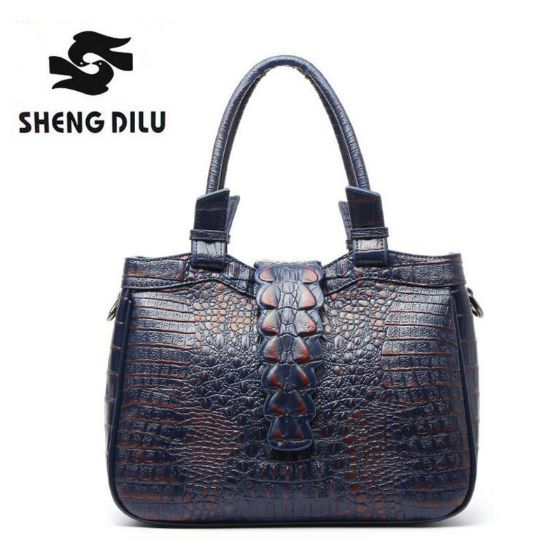 New Genuine Leather Handbag crocodile print Handbags Women Bags Designer Bolsa Feminina  Bolsos Tote Borse 2017 Big Shoulder Bag zooler brand women fashion genuine leather handbag shoulder bag 2017 new luxury handbags women bags designer bolsa feminina tote