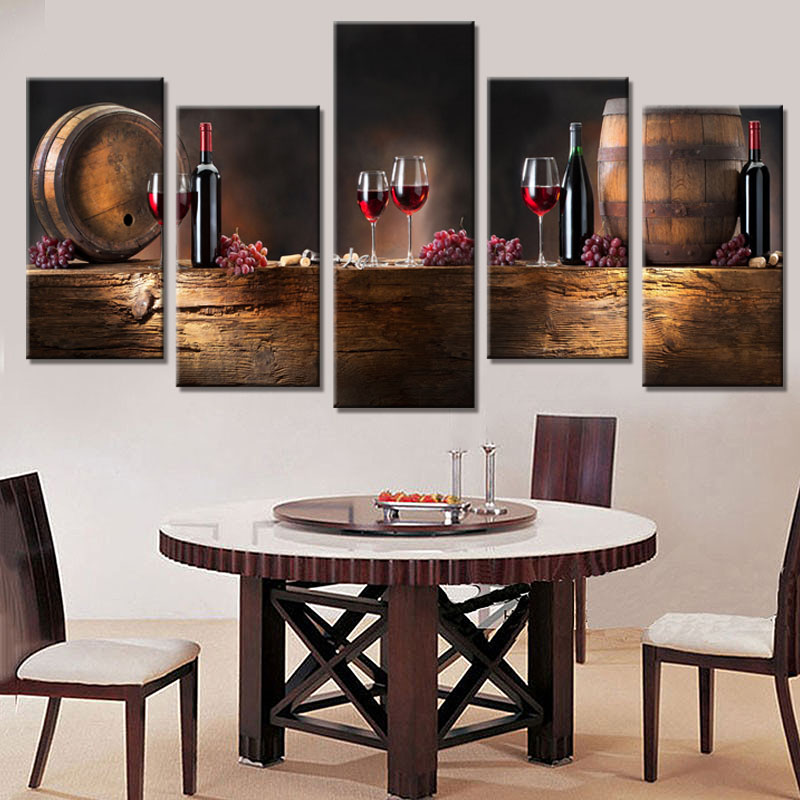 Grapes And Wine Kitchen Decor Rustic Art 5 Pcs/set Barrel With Red Print Canvas Picture ...