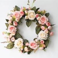 Silk Rose Artificial Flowers Home Wedding Door Wreaths Decorations Elegant Fabric Flowers Exquisite Christmas Artificial Garland
