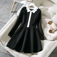 New 2018 Spring Autumn Fashion Women Cute White Collar Knit Sweater Dress Long Sleeve Fit And