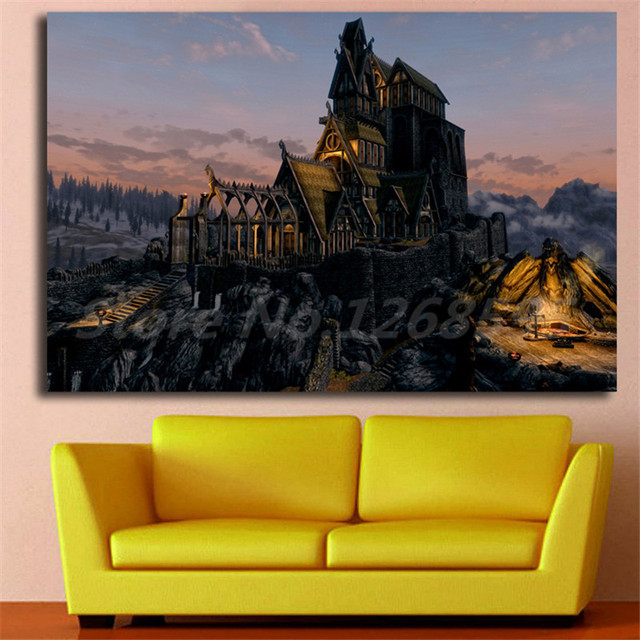 Ultra HD Skyrim Landscape Wallpapers Canvas Painting Print Living Room Home Decor Modern Wall Art Oil Poster Artwork