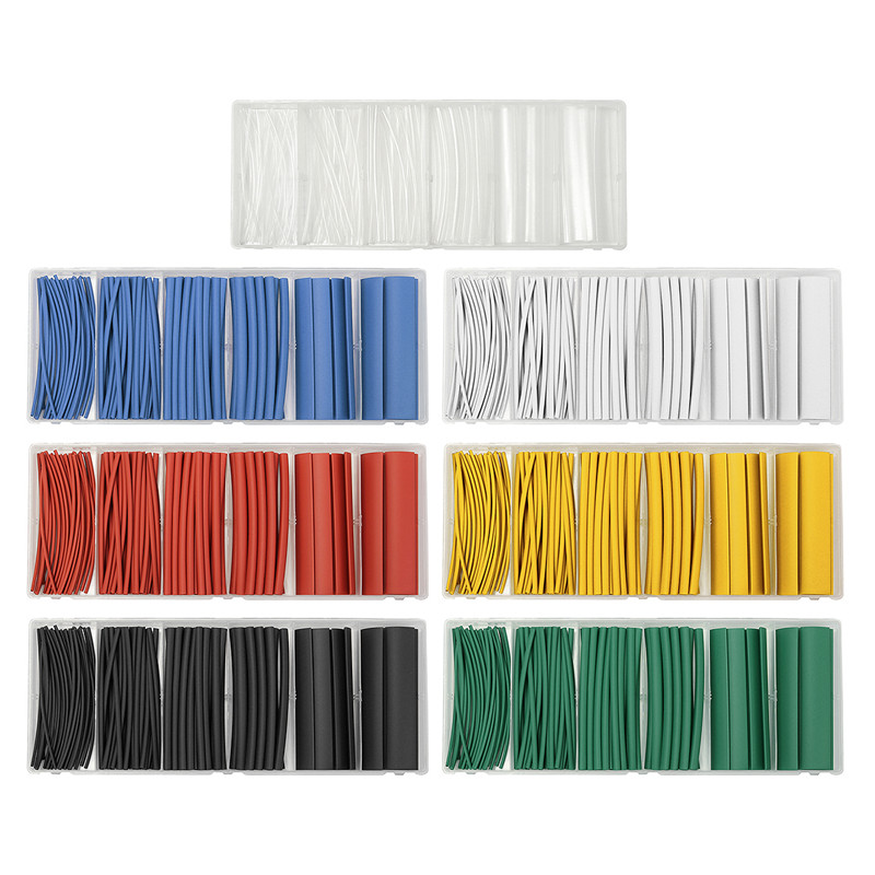 100Pcs 100mm 2:1 Polyolefin Heat Shrink Tubing Tube Sleeving Set 7 Colors Wrap Sleeve Combo Assorted heatshrink tube With box 55m set new assorted heat shrink tubing cable wrap tube sleeving pack 11sizes 6 colors