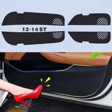 4pcs Car Door Side Edge Anti kick Protection Film Carbon Fiber Sticker For Volkswagen Sagitar 2012-2014 ipoboo savanini 4pcs fabric door protection mats anti kick decorative pads for toyota camry 6th 2006 2012