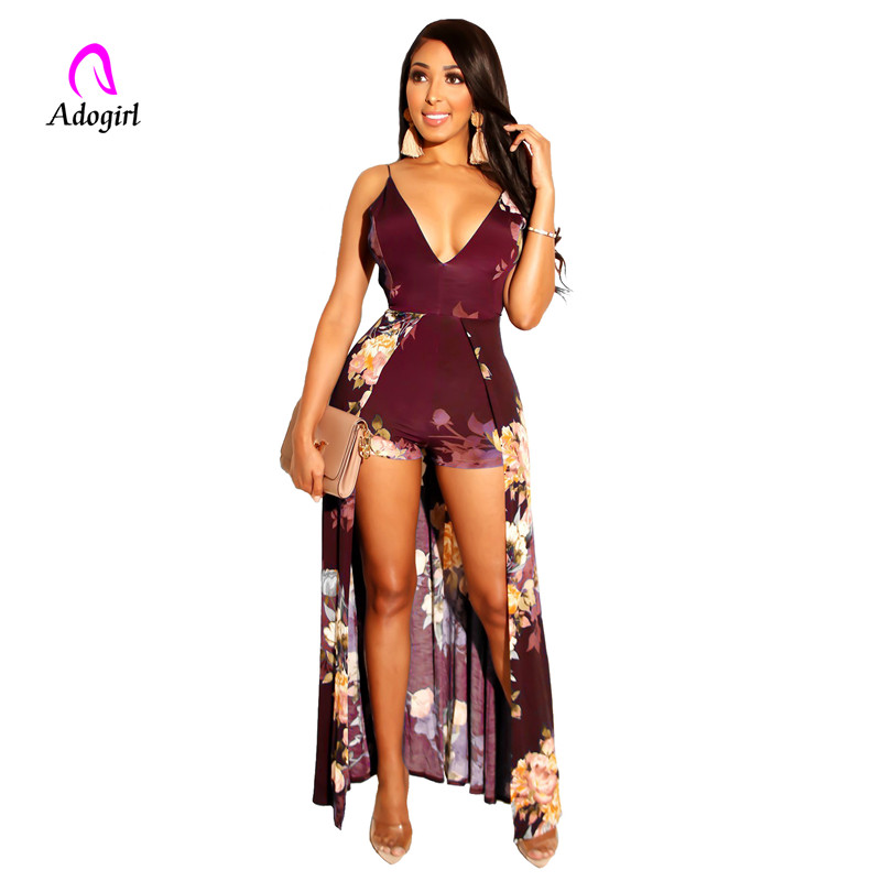 Adogirl v neck floral printed <font><b>backless</b></font> <font><b>sexy</b></font> <font><b>dress</b></font> two layer long back tail <font><b>dress</b></font> sleeveless <font><b>spaghetti</b></font> <font><b>strap</b></font> printed gown image