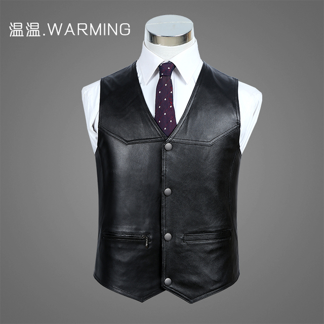 The man in the fall and winter of 2016 gentleman leather vest Leather vest