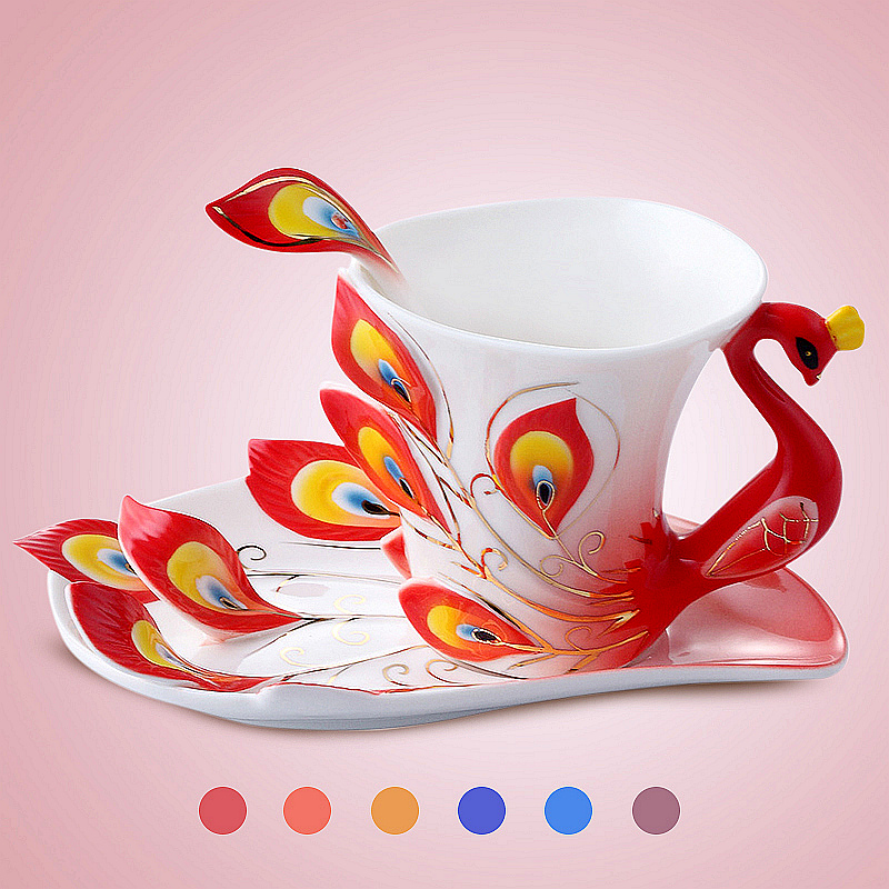 Friends blessing coffee cup set ceramic bone china European creative English afternoon tea red