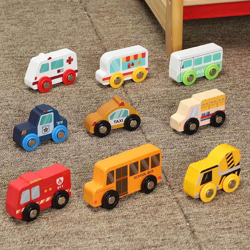 Anak-anak Mainan Mobil Magnetic Kayu Adegan Mobil Truk Pemadam Kebakaran Mobil Ambulance Kompatibel Kayu BRIO Kereta Mainan Anak W2