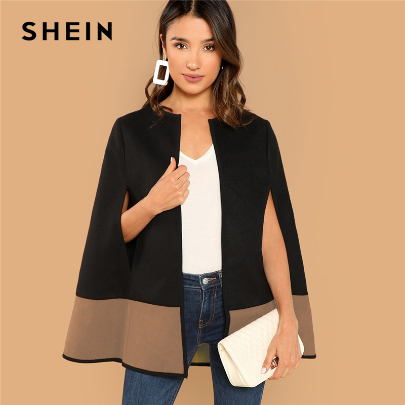 SHEIN High Street Elegant Two Tone Open Front Cloak Sleeve Cape Coat Women's Shein Collection
