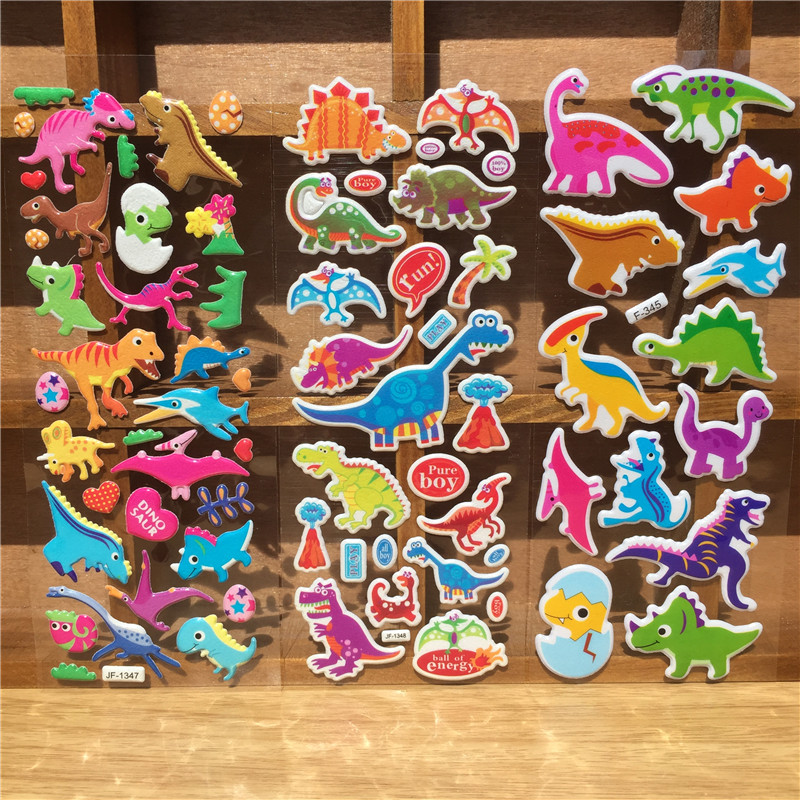 Random 3/6pcs 3d cartoon dinosaur puffy sticker Children learn to know dinosaurs bubble stickers for kids notebook laptop