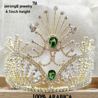 zerongE jewelry 4.1 pageant gold noble green /pink/royal blue/red/yellow colorful rhinestone miss world tiara and crown