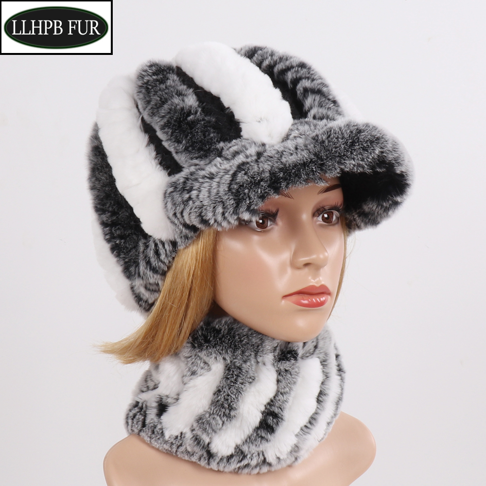 Ladies Real Rex Rabbit Fur Scarves Hats Sets Women Winter Knit Real Fur Scarf Hat Set Good Elastic Natural Fur Hat Neckerchief