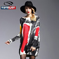 Printed Sweater Women 2016 Casual Long Women Sweater Coat Batwing Sleeve  Clothes Pullovers Long Sleeve Pulover Feminino Inverno