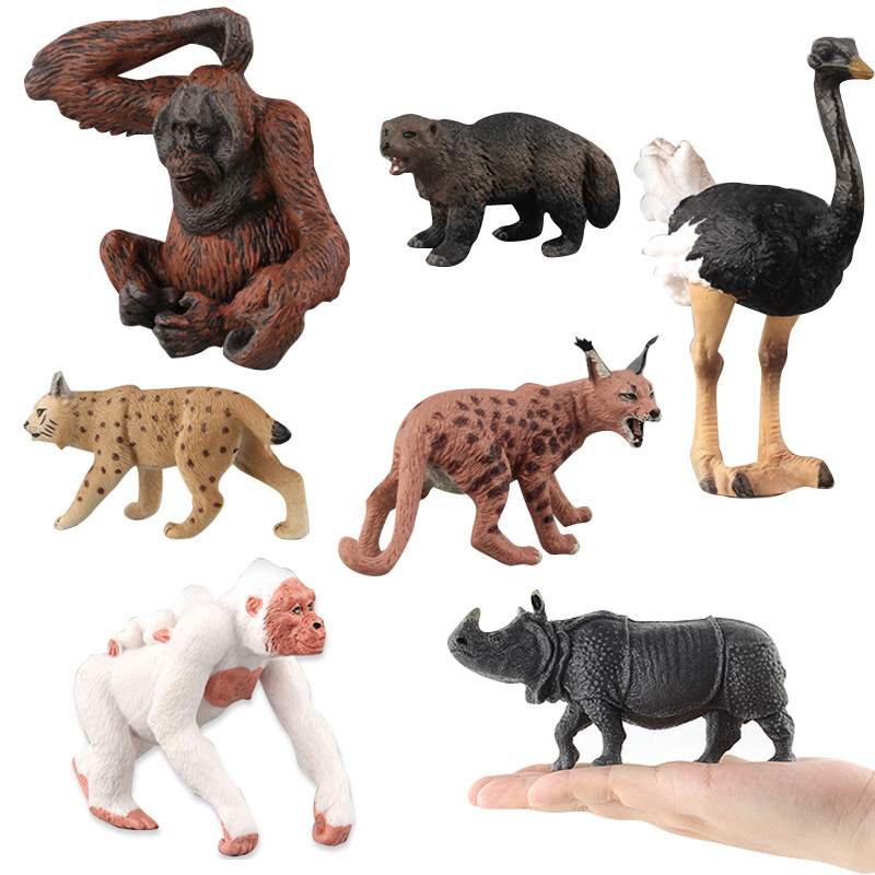 9 Kinds Simulation Chimpanzee/Rhinoceros/Ostrich Figure Collectible Toys Wild Animal Action Figures Kids Cognitive Toys