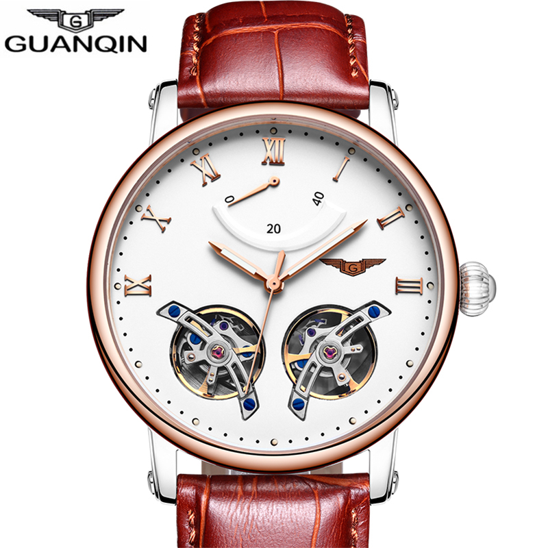 2018 New Sport watch Top brand GUANQIN High end Mechanical watches Two Tourbillons,Luminous,Sapphire Luxury Automatic watch men цена 2017