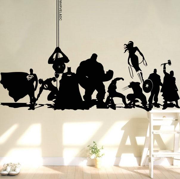 Creative DIY wall art home decoration Iron Man Avengers 2 & Hulk & Captain America & Boy bedroom living room wall stickers