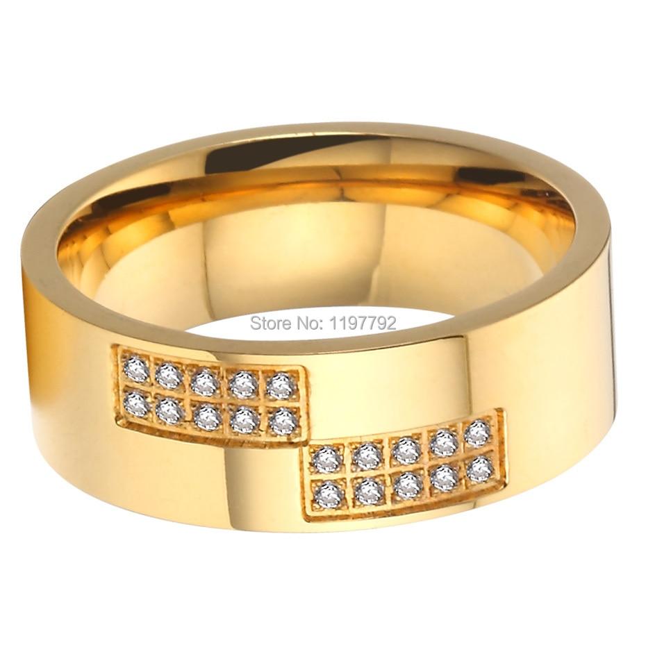 2015 beautiful gold colour pure titanium steel cz stone big womens ...