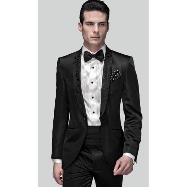 Mens Fashion Black Wedding Suits For Men Slim Fit Formal Groom Prom