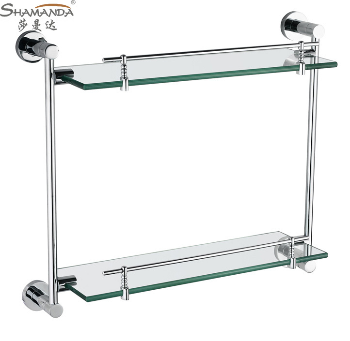 Double bathroom shelves glass shelf brass made with chrome - Bathroom accessories glass shelf ...
