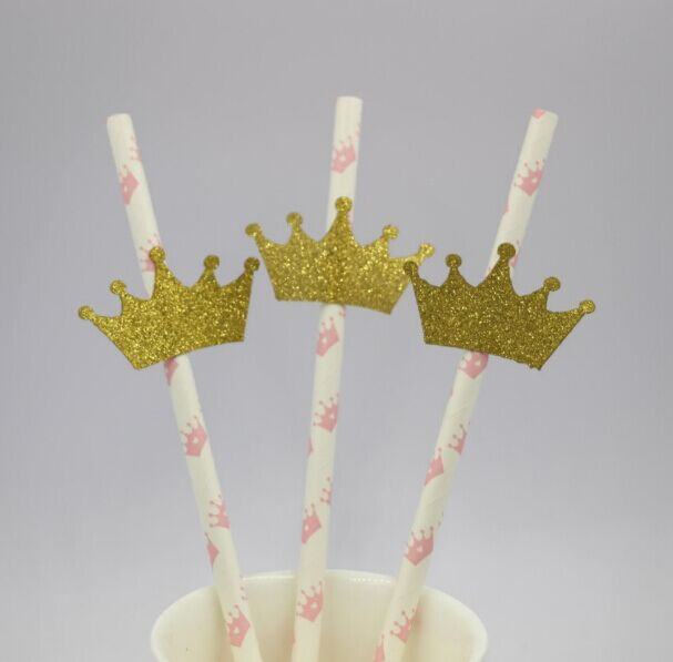 Gold And Pink Crown Paper Straws Topper Baby Shower Valentine S Day