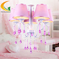 Pink crystal Led Pendant light bedroom led lamp girl princess room Bedroom study modern pendant light