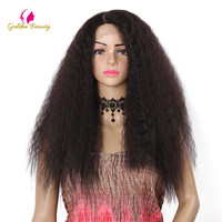 Golden Beauty Kinky straight Wig Heat Resistant Synthetic Long Hair Side Part Lace Front Wigs for Women 24inch