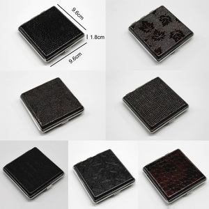 Image 3 - Faux Leather Metal Frame Black Cigarette Accessories Storage Case Cigarette Box Container 1 Pcs Household Merchandises