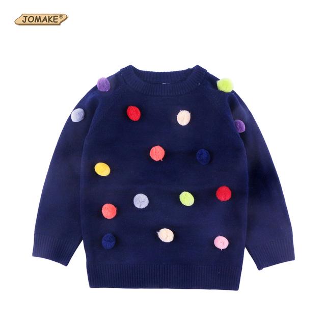 Venda quente! Colorido Bolas De Pêlo O-pescoço Camisolas Dos Miúdos Para O Bebê Meninas Encantadoras Meninas Pulôver de Malha Casual Wear Roupa Das Crianças