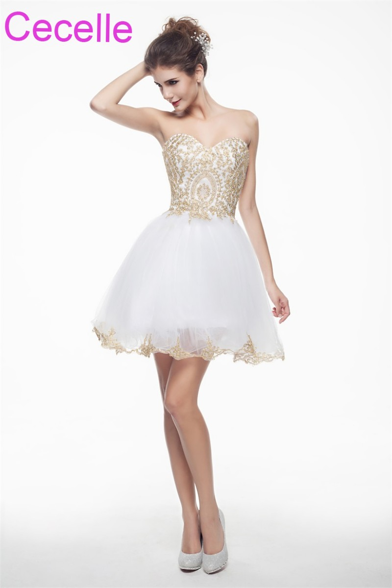 White With Gold Cute Short Cocktail Dresses 2019 Sweetheart Girls Semi Formal Short Prom Party Dresses Robe De Cocktail Sale cocktail dress