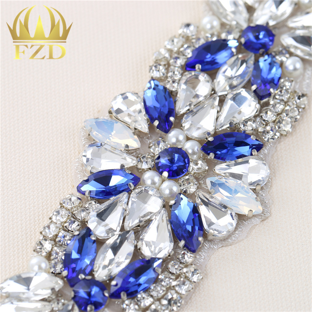95b7b81b69 1 Piece Rhinestone Iron on Blue Crystal Appliques Hot fix Pearls Glass  Patches Iron sew on rhinestoneFor Wedding Belt FA 900-in Rhinestones from  Home ...